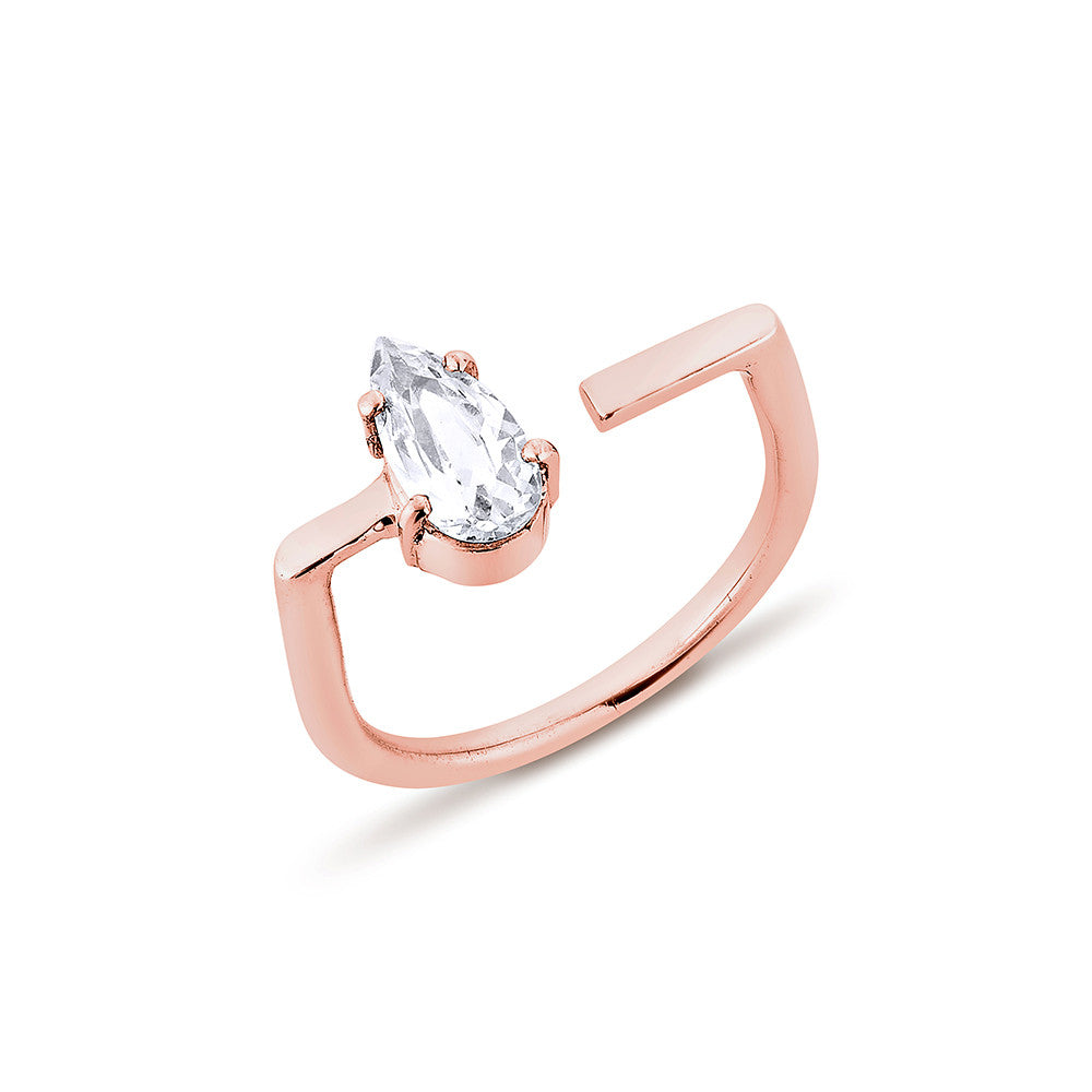 Pear Diamond U Ring - Pinkgold