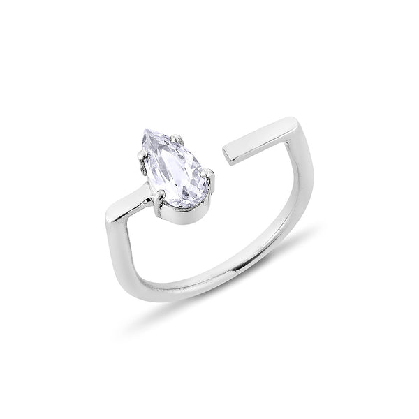 Pear Diamond U Ring - Silver