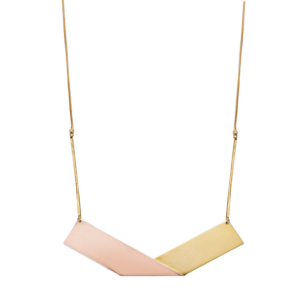 Irada 07 Ribbon Necklace - Pinkgold x Gold
