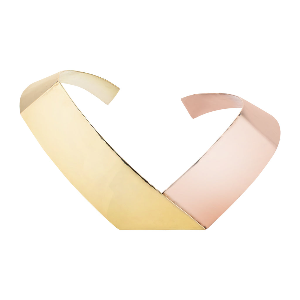 Irada 08 Ribbon Necklace Cuff - Gold