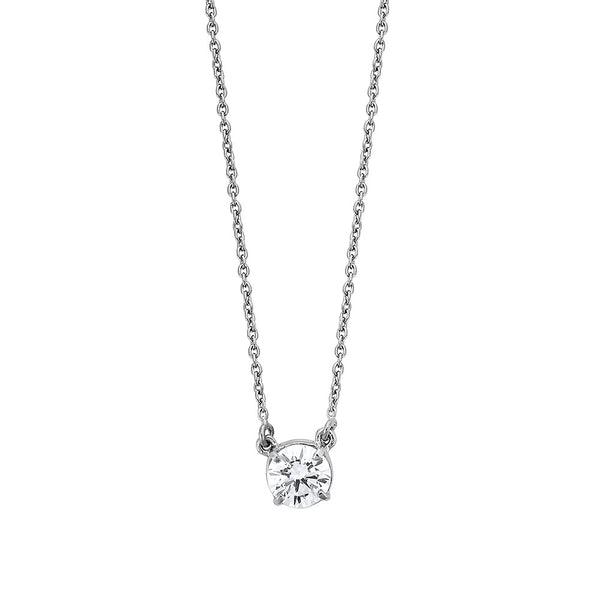 Round Diamond Necklace - Silver