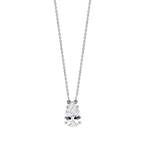 Pear Diamond Necklace - Silver