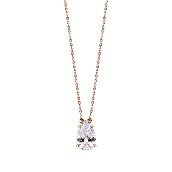 Pear Diamond Necklace - Pinkgold