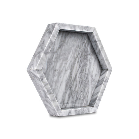 Pentagon Tray - White Carrara