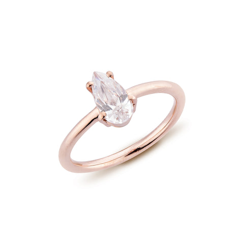 Pear Diamond Ring - Pinkgold