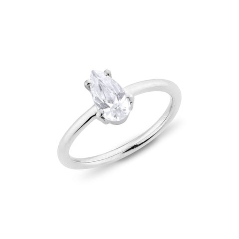 Pear Diamond Ring - Silver