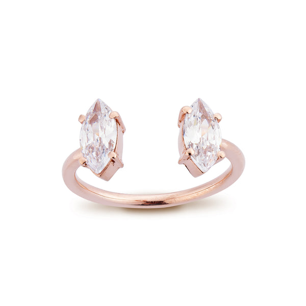 2 Marquise Diamond Ring - Pinkgold