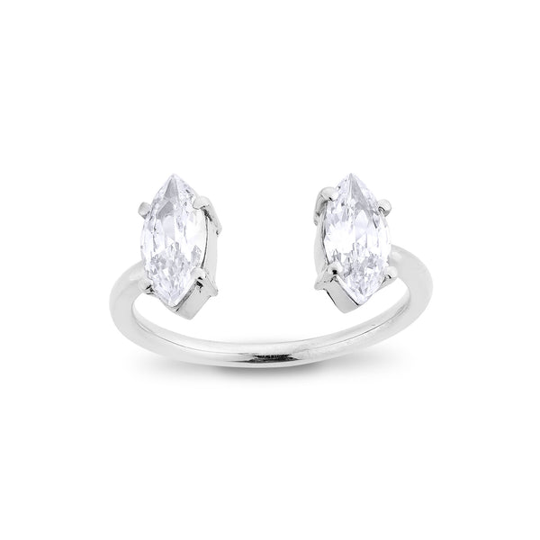 2 Marquise Diamond Ring - Silver