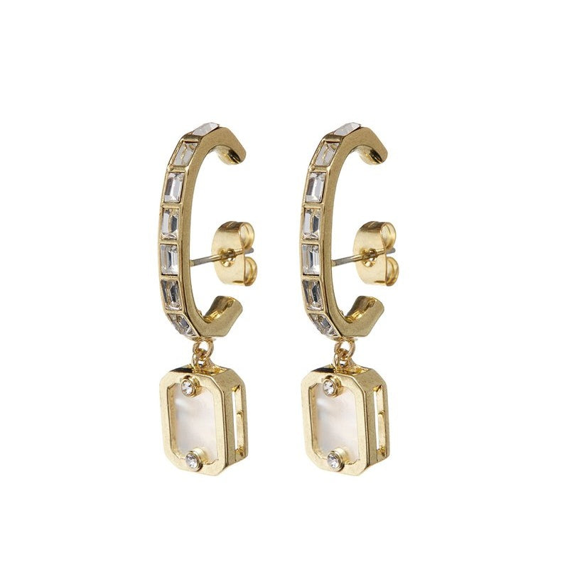 Over the Lobe Pearl Earrings - Gold