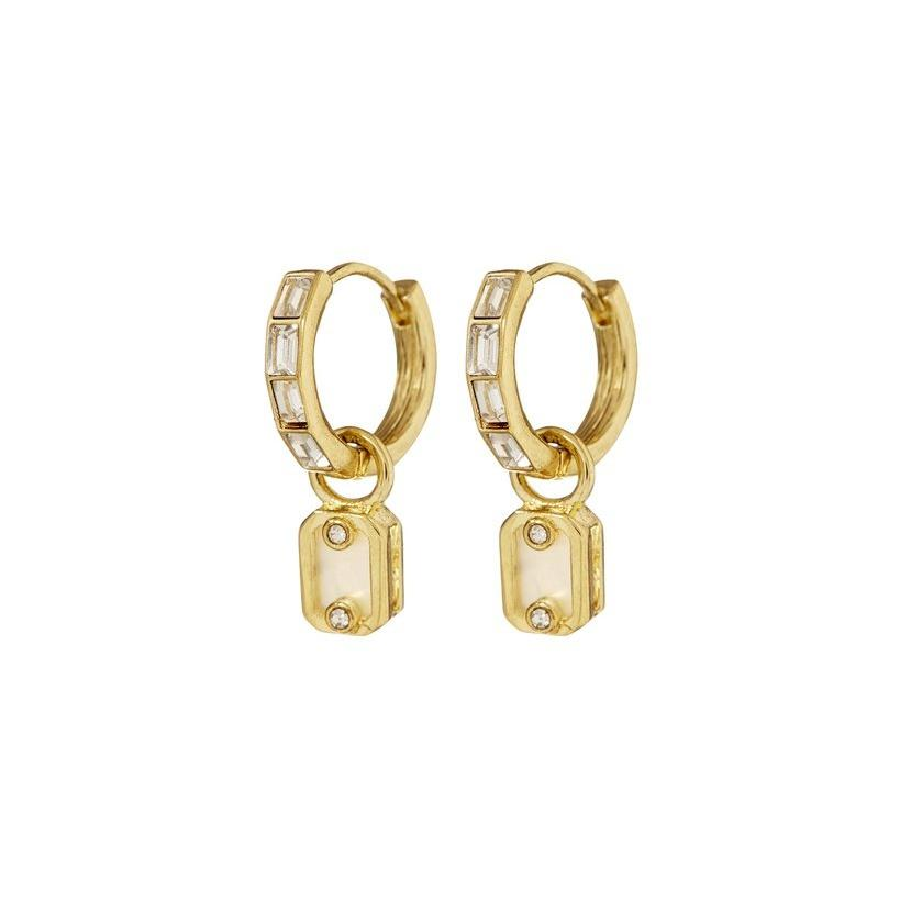 Bow Maylada IN Emerald Pearl Dangle Hoops - Gold