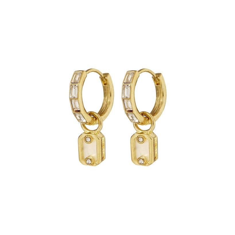 Emerald Pearl Dangle Hoops - Gold