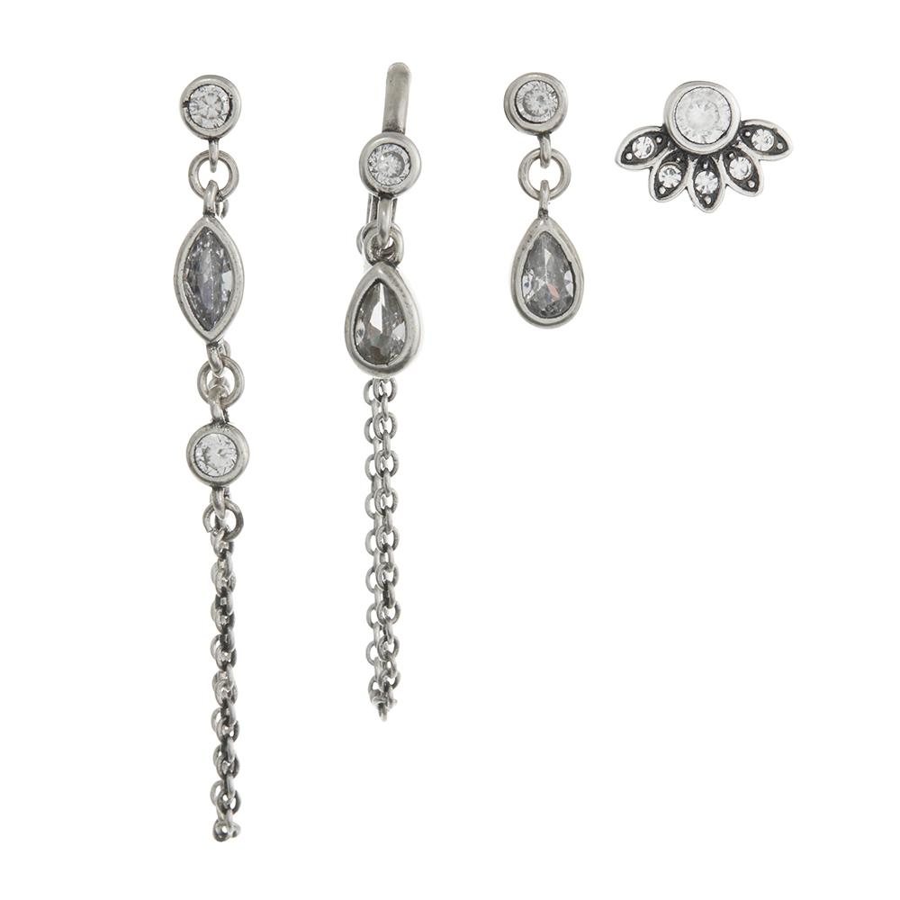 COSMIC DANGLE STUDS + HUGGIES - SILVER