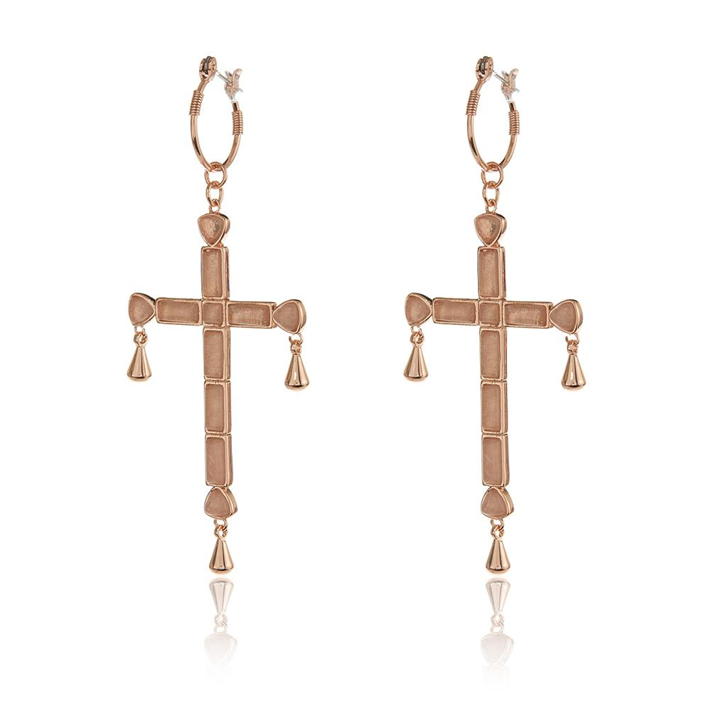QUARTZ CROSS STATEMENT HOOPS - ROSE GOLD