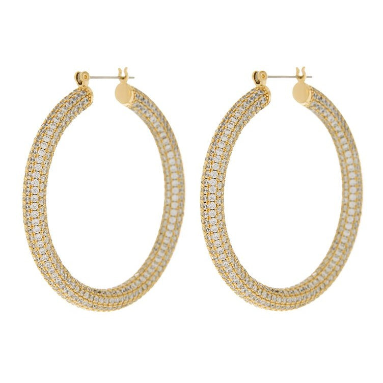 Lena Helena IN PAVE AMALFI HOOPS - GOLD