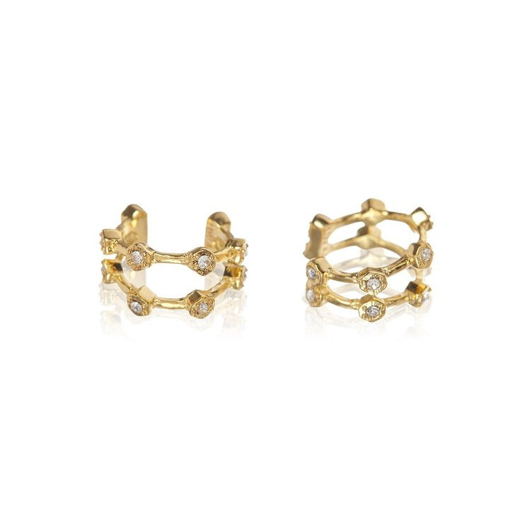 PAVE HEX EAR CUFF – GOLD