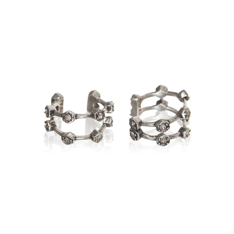 PAVE HEX EAR CUFF – SILVER