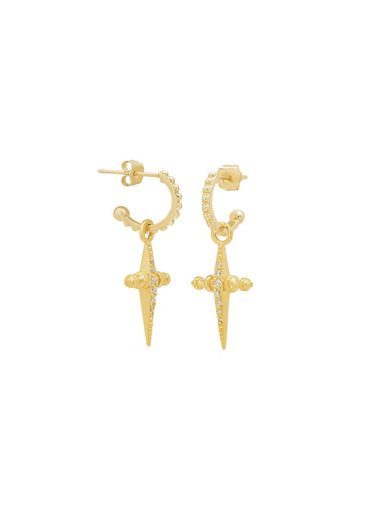 Prang Kannarun IN The Cross Hoop & Pave Mini Cross Hoops - Gold