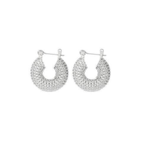 PAVE MINI DONUT HOOPS – Silver