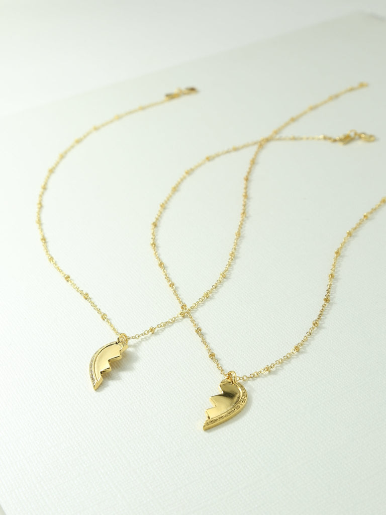 THE BROKEN HEART FRIENDSHIP NECKLACE SET – GOLD