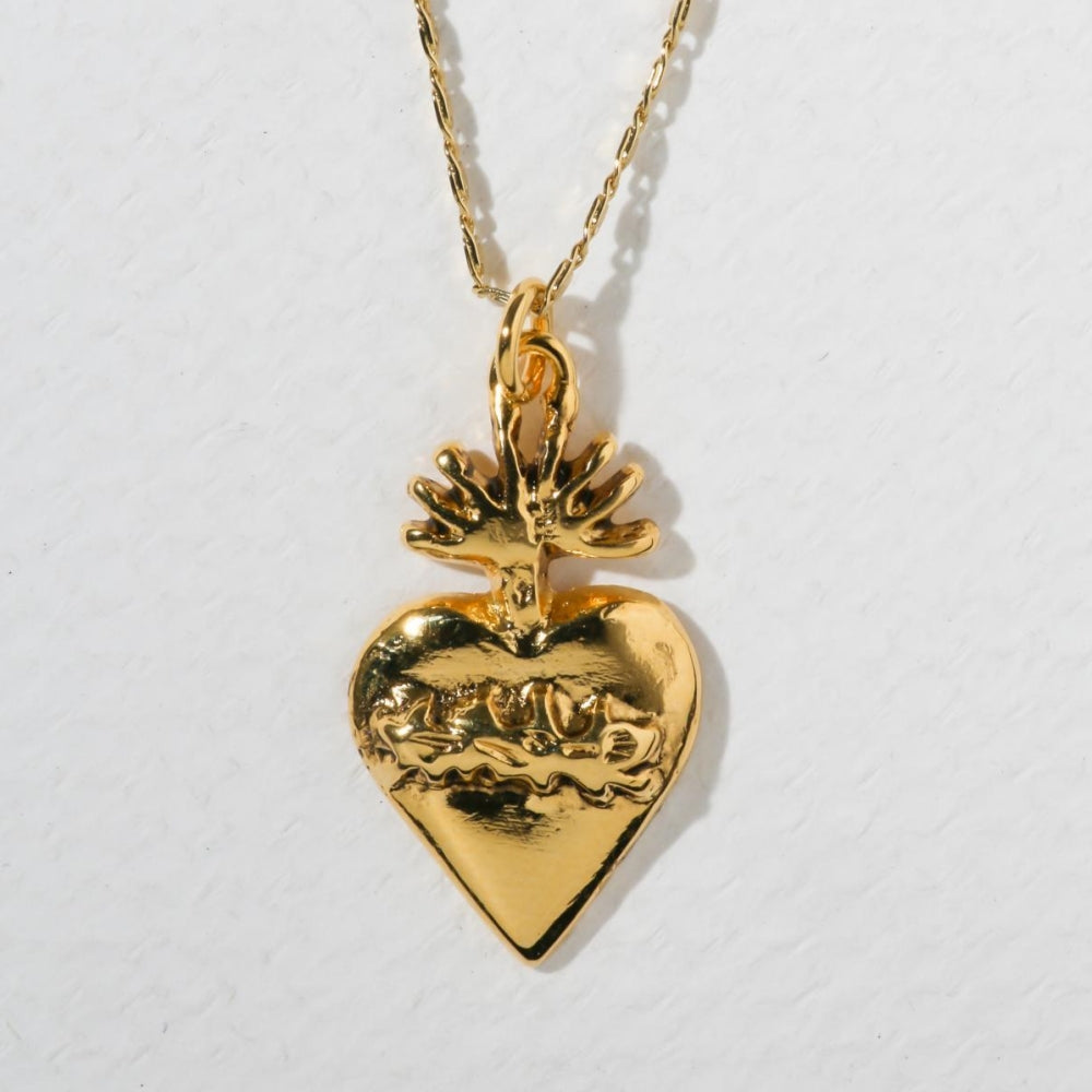 THE FLAME SACRED HEART NECKLACE – GOLD