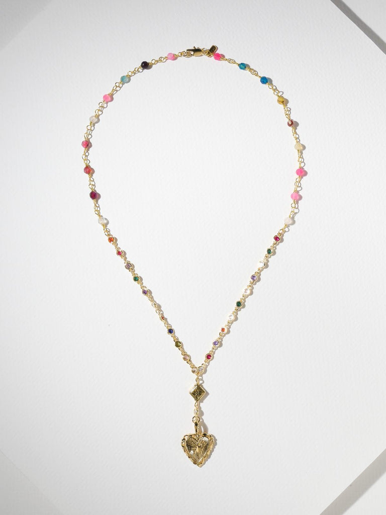 Prang Kannarun IN ANGELICA HEART HOOPS & BEJEWELED ROSARY NECKLACE - GOLD