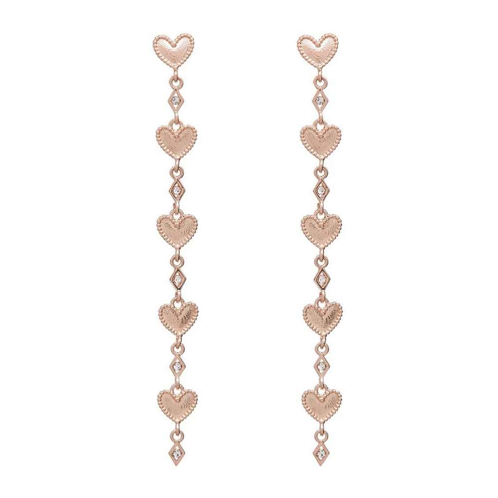 DOTTED HEART DROP STUDS – PINKGOLD