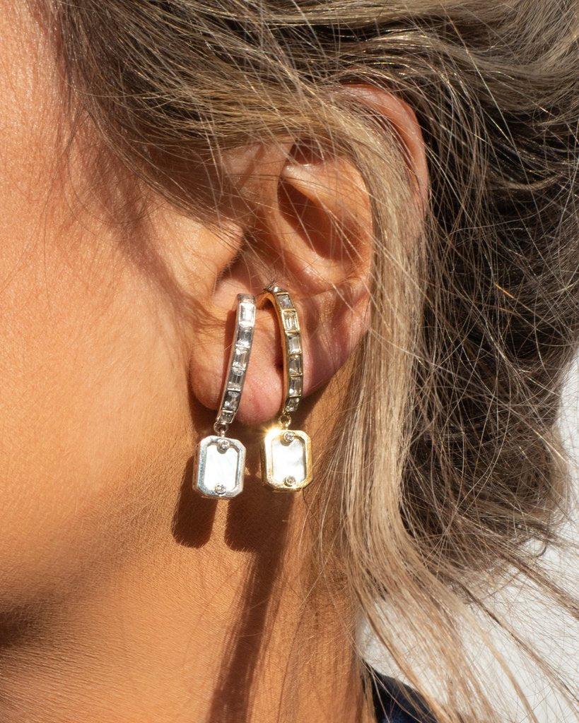Over the Lobe Pearl Earrings - Silver