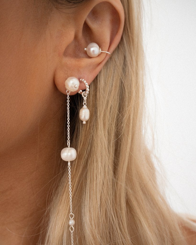 BAROQUE PEARL DROP EARRINGS – SILVER