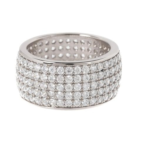 Pave Cigar Ring - Silver