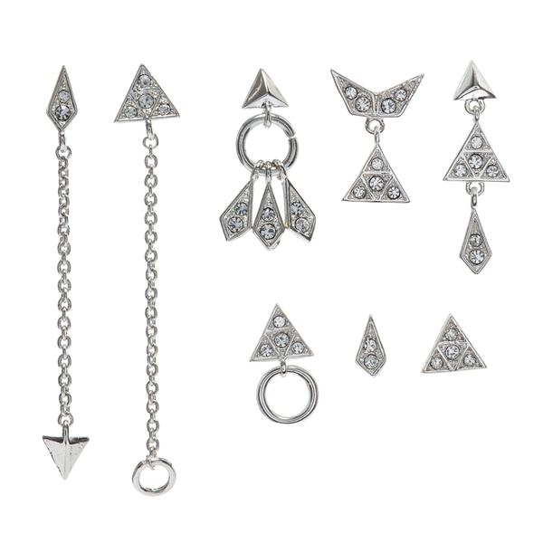 PAVE KITE MIXED 8 EARRING SET - SILVER
