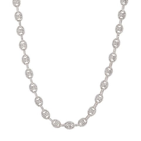 PAVE MARINER CHAIN NECKLACE - SILVER