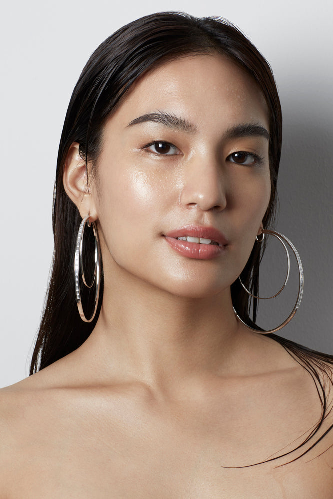 WAREE STATEMENT HOOP EARRINGS – SILVER