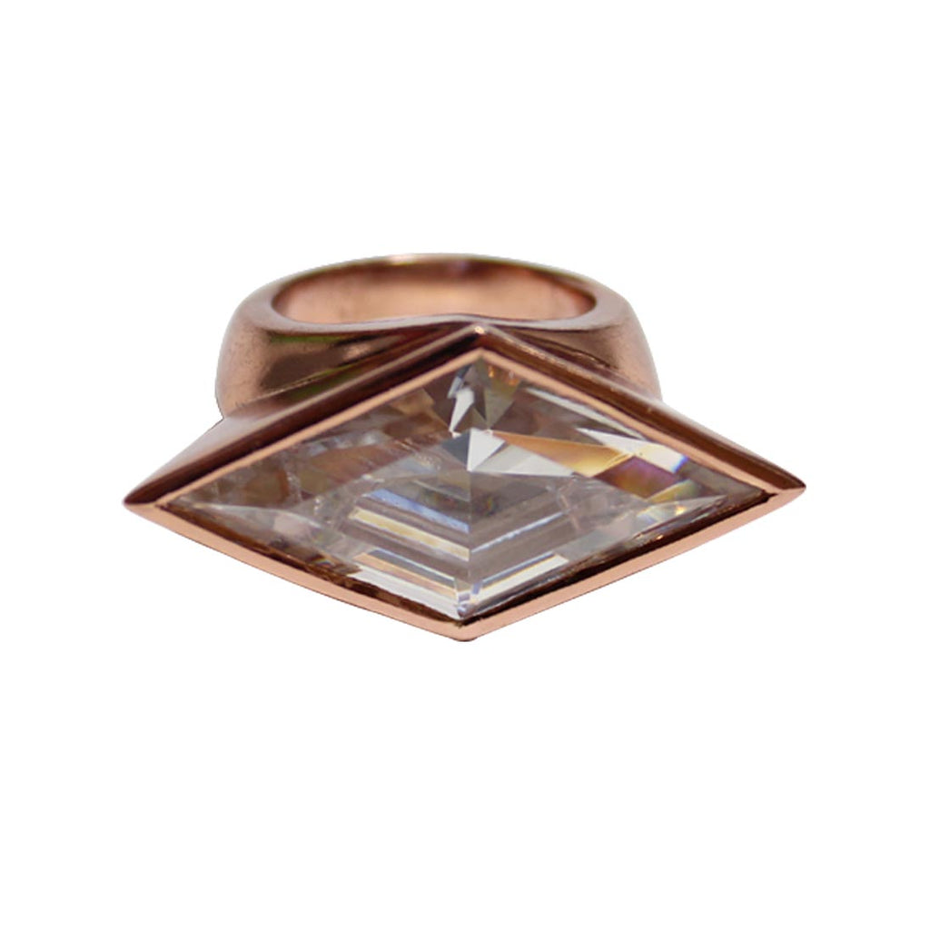 S Reflection Horizontal Ring - Pinkgold
