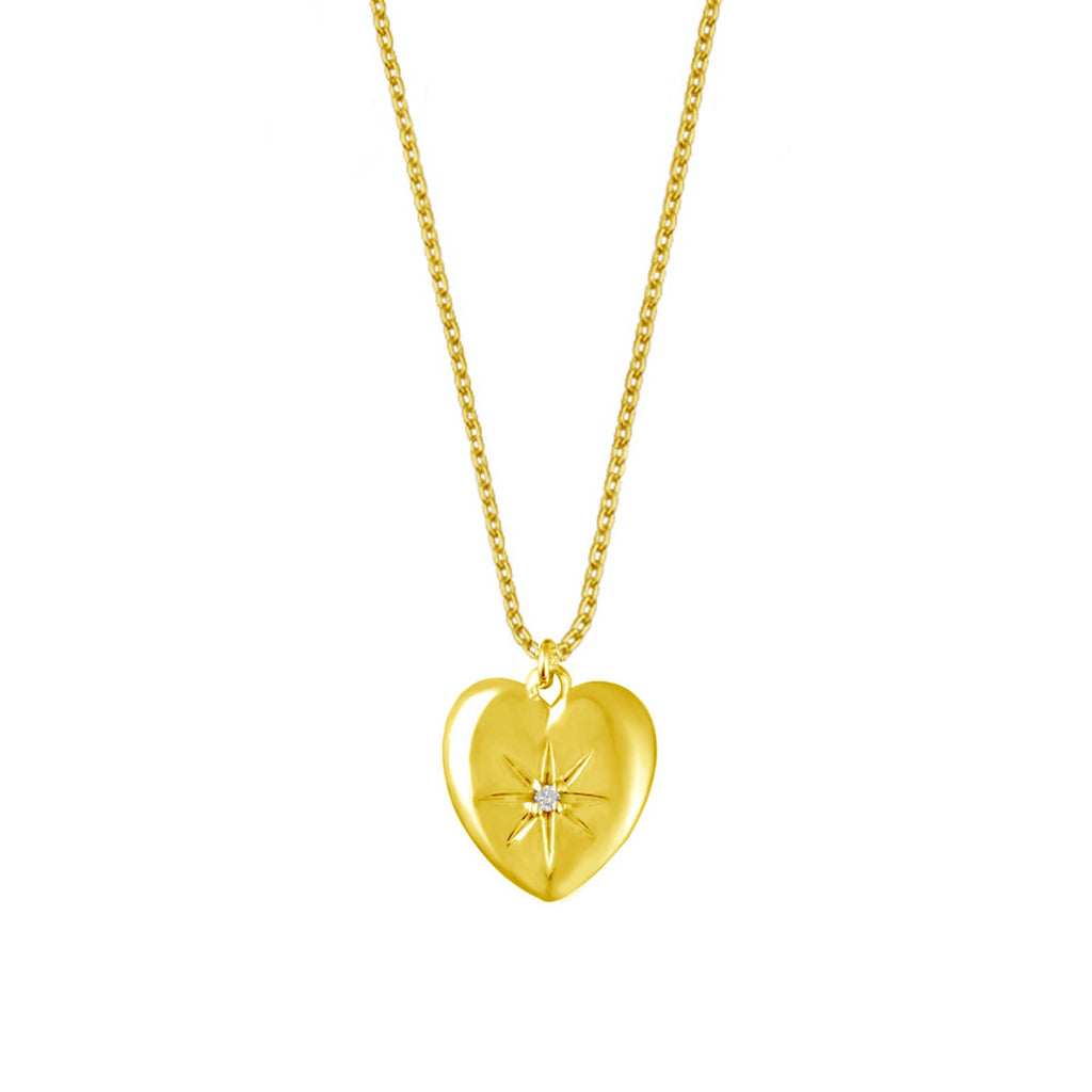 BOW MAYLADA IN STELLA HEART NECKLACE & PAVE MINI CROSS HOOPS - GOLD
