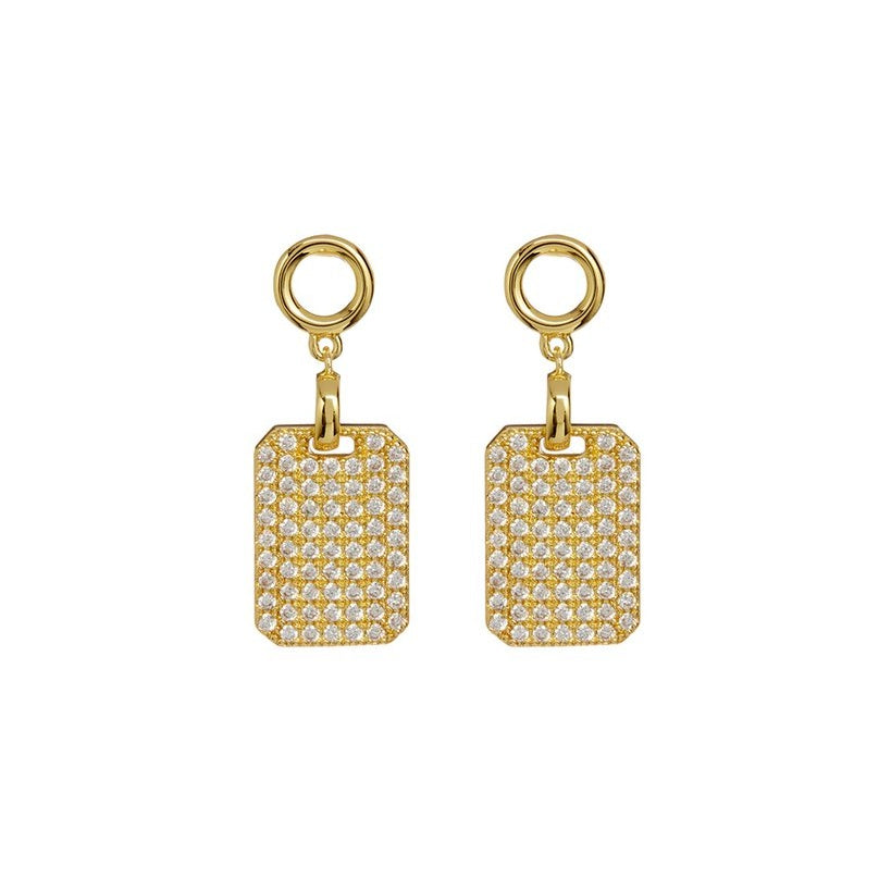 PAVE DOGTAG STUDS – GOLD