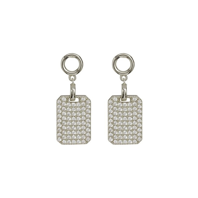 PAVE DOGTAG STUDS – SILVER