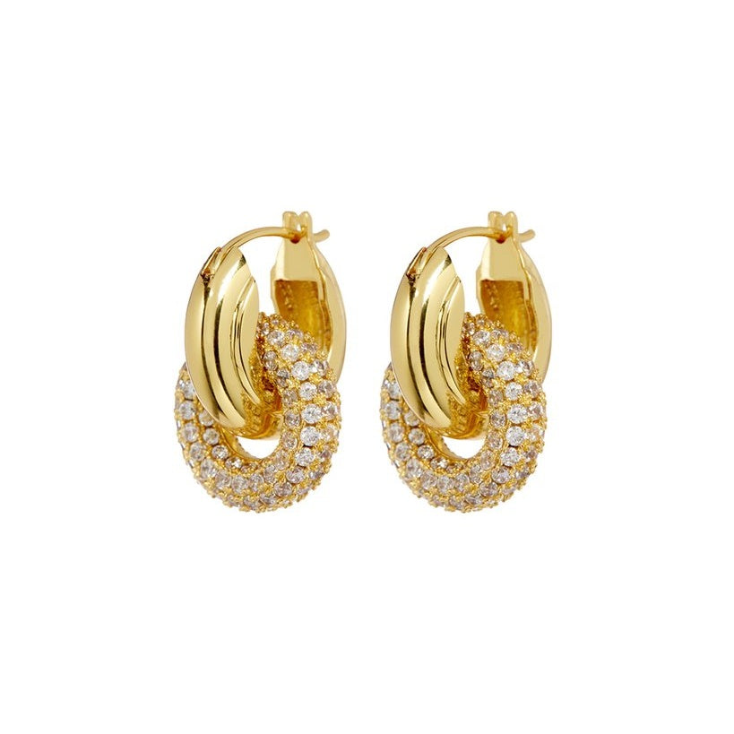 PAVE INTERLOCK HOOPS – GOLD