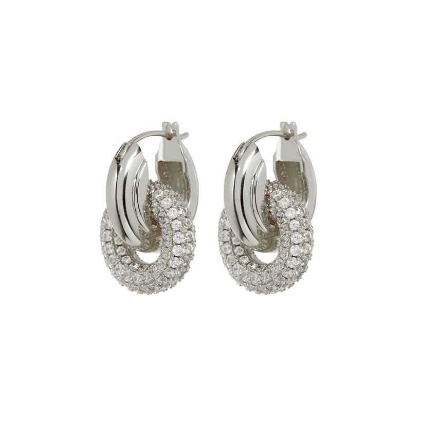 PAVE INTERLOCK HOOPS – SILVER