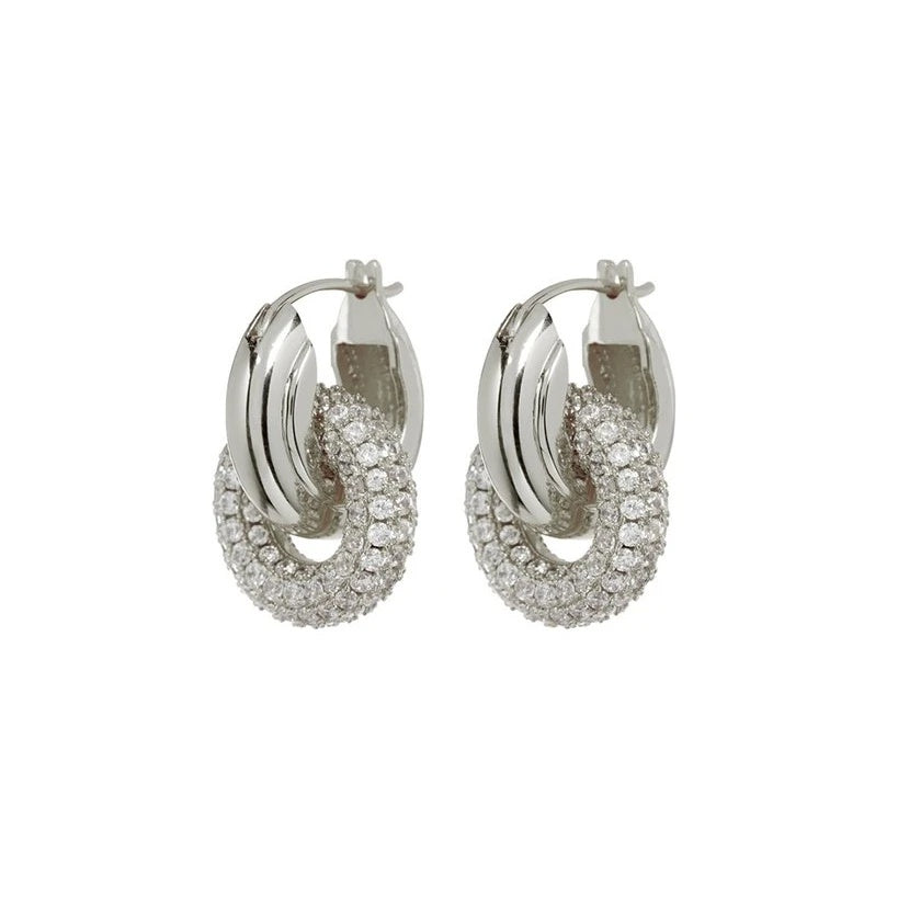 Ingfan IN PAVE INTERLOCK HOOPS - SIlver