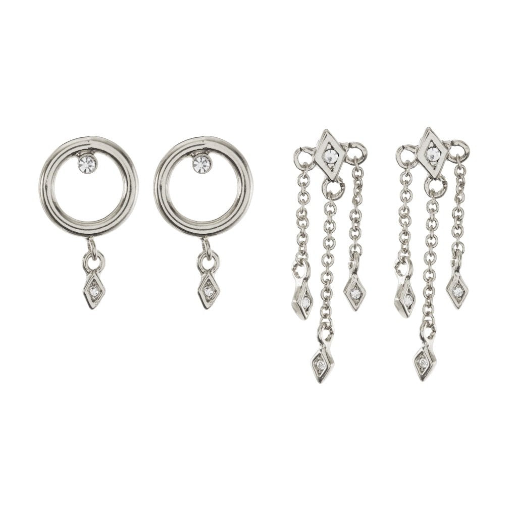 EVIL EYE DANGLE STUDS SET- SILVER