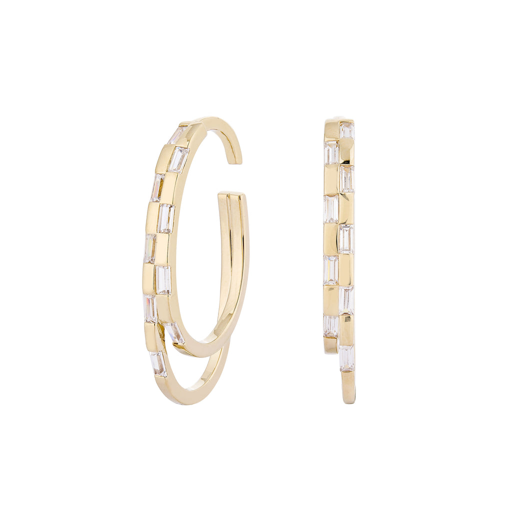 Ing Yolwaree IN Waree Double Hoop Earrings & Ear Cuff - Gold