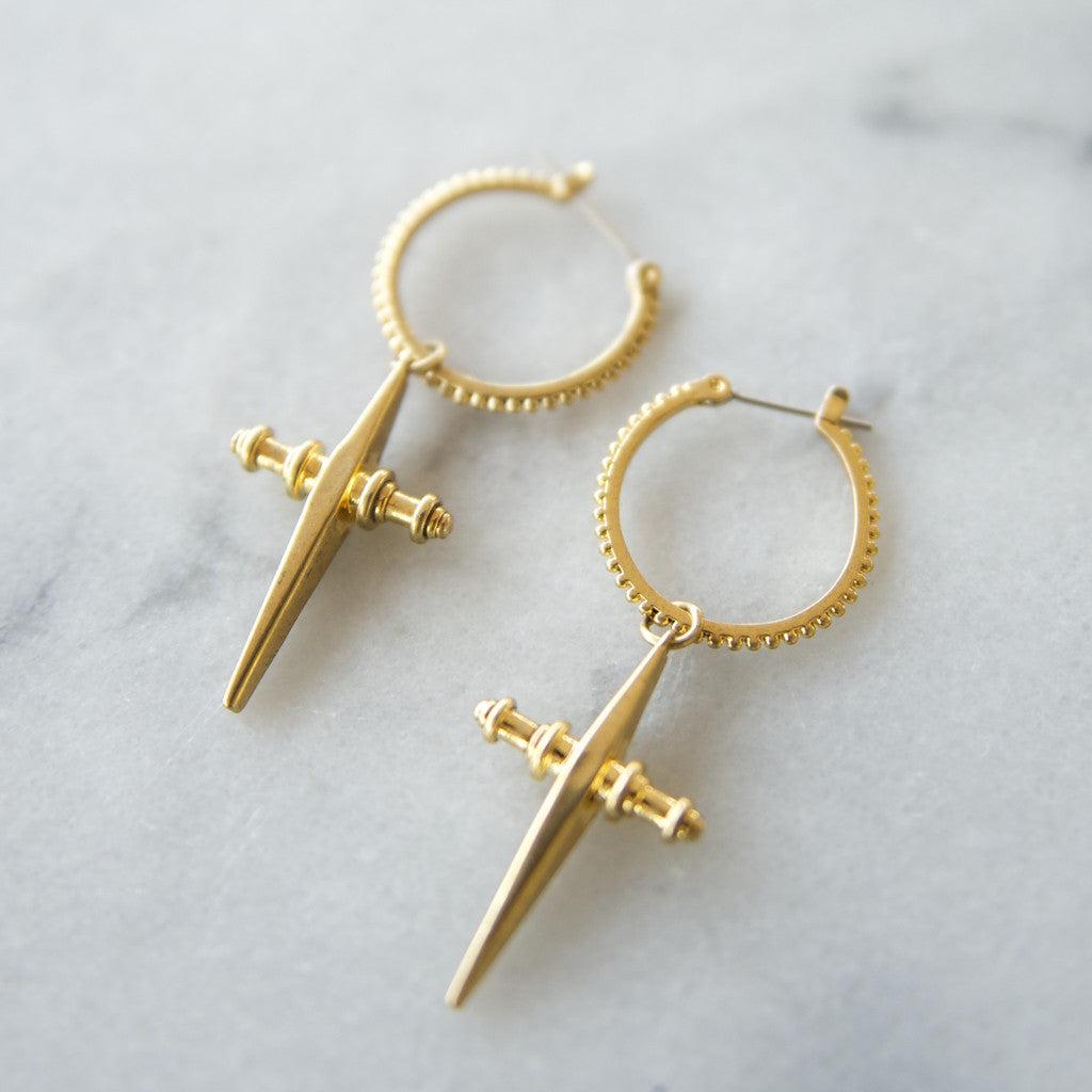 THE CROSS HOOPS - GOLD