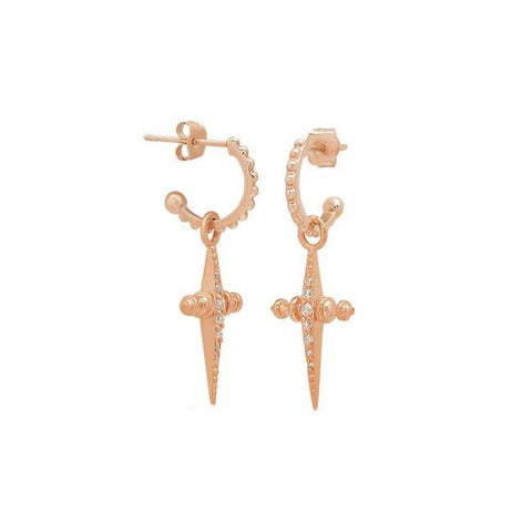 PAVE MINI CROSS HOOPS - Rose Gold