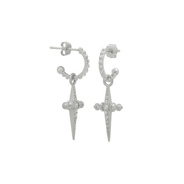 PAVE MINI CROSS HOOPS - SILVER