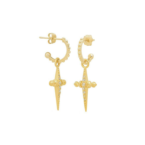 PAVE MINI CROSS HOOPS - GOLD