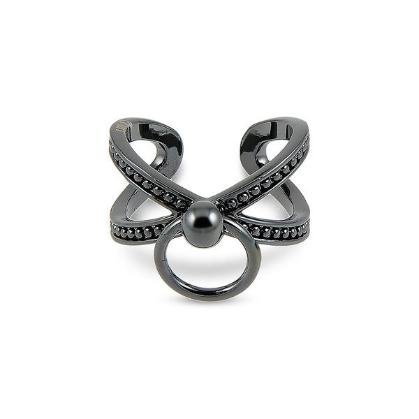 RING OF FIRE CROSS RING - BLACK