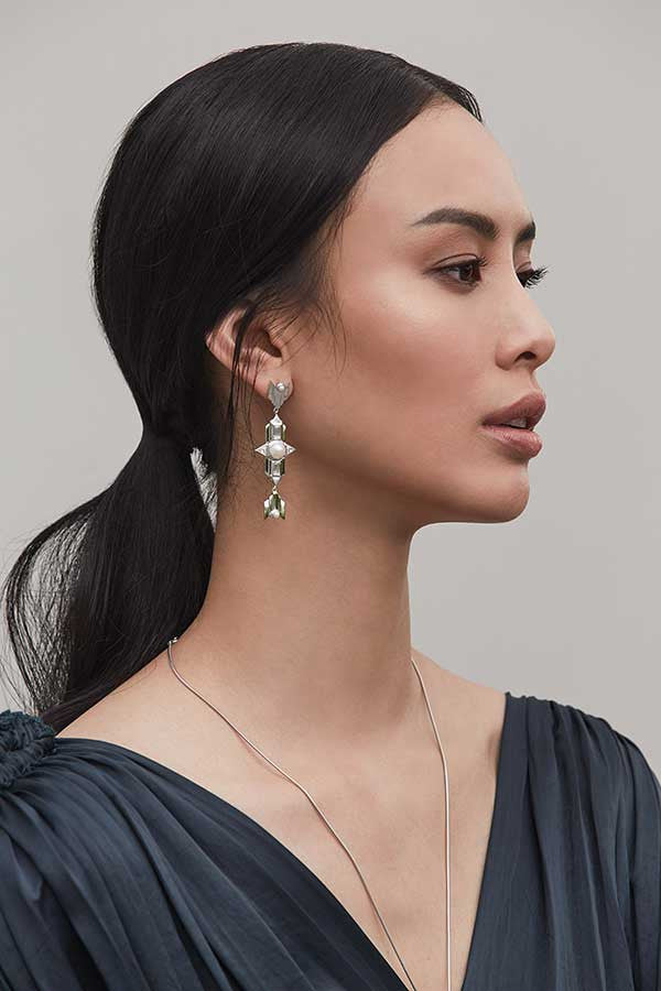 Babylon Long Earrings - Silver