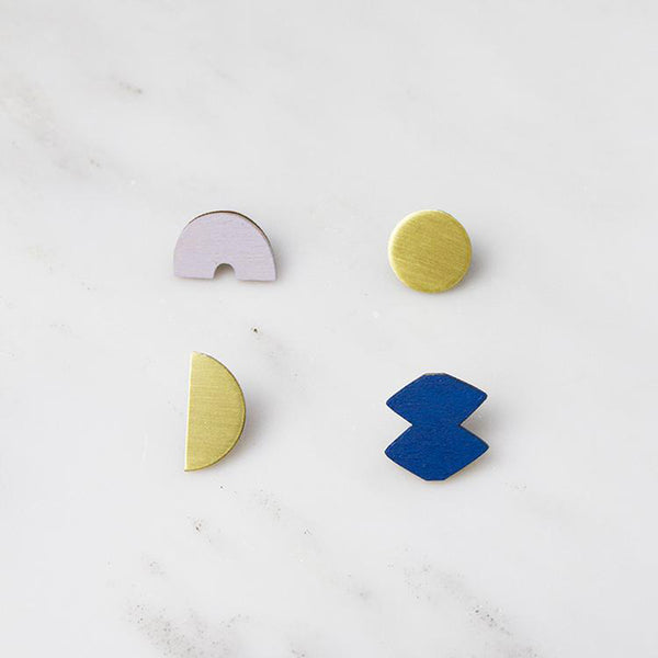 Sculpture Studs Set Earrings - Lavender/Cobalt Blue