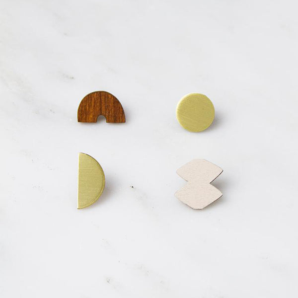 Sculpture Studs Set Earrings - Wood/Ecru