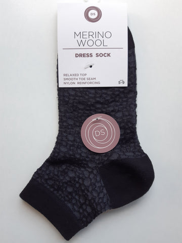 Womens Merino Skin Design Dress Sock One Size / Black Accessories